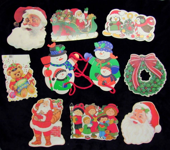 Items Similar To 10 Vintage Die Cut Christmas Decorations