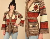 Vintage Wrap Sweater Space Dyed 70's // Tribal Southwestern Cardigan // With Belt Belted Bell Sleeve // HiPPiE BoHo Small S
