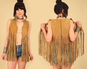 ViNtAgE 60's 70's Suede Fringe Beaded Vest // Woodstock Era // Rainbow Beads Leather Rocker Bohemian Hippie Gypsy Festival S/M