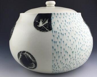 Porcelain Cookie Jar Handmade, Ceramic Cookie Jar, Pottery Cookie Jar, Ceramic Jar, Black and White Cookie Jar, Medallion Pattern, Boat