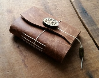 Distressed Brown Leather, wood button,Small Handbound Leather Journal Book