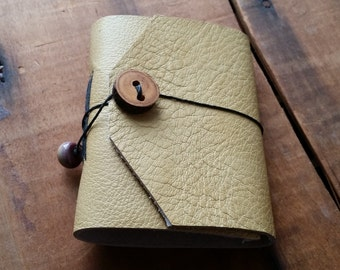 Pale Yellow Textured Leather, wood button,Small Handbound Leather Journal Book