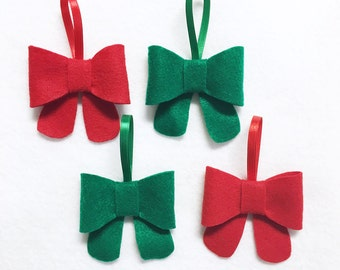 Bow Ornament, Ornament Set - Traditional Red and Green - Christmas Ornament, Holiday Home Decoration, Bow Decoration