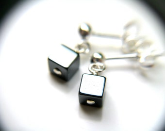 Hematite Studs . Cube Stud Earrings . Square Studs . Tiny Dangle Post Earrings Sterling Silver . Anti Anxiety Jewelry - Moulin Collection