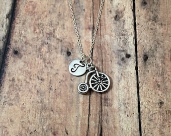 Bicycle initial necklace - bike necklace, gift for cyclist, penny farthing necklace, cyclist necklace, silver bicycle necklace