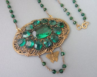 Rhinestone Necklace Assemblage emerald green Green Goddess Necklace