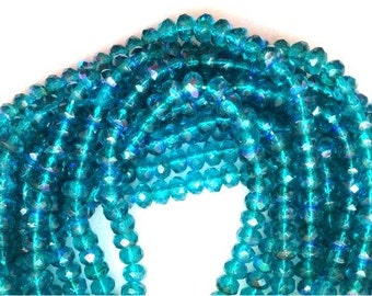 New 50 Faceted Czech Glass Beads Rich TEAL BLUE AB 3x5mm