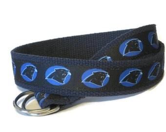 Boys Carolina Panthers SALE Belt/ Panthers Football Belt/ Girls Sports Canvas Belt / Panthers on Navy Webbing / Panthers Fan Gift