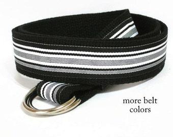 Black White Striped Belt / Black Canvas Belt / D-ring Belt / Preppy Webbing Belt / Ribbon Belt for men teens Big & Tall (Midnight Waves)