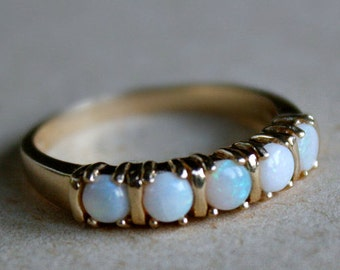 14k Opal ring, Anniversary Gift, Birthstone jewelry, Wife Gift, Girlfriend Gift, Gift For Her, October birthstone, Vintage Jewelry