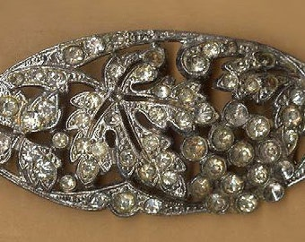 vintage art deco rhinestone finding retro leaf design, easily attachable for your next project old art deco repurpose