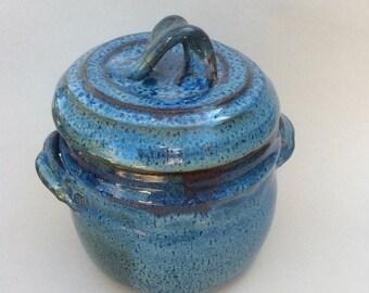 Handmade blue crock, storage jar, cookie jar, fermenting jar, ready to ship