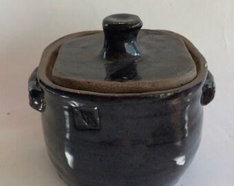 SQUARE lidded jar- midnight blue storage jar-canister- container- ceramic- pottery- storage- decorative J3