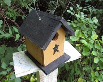 Primitive Birdhouse Honey Mustard Chickadee Wren Cute Songbirds