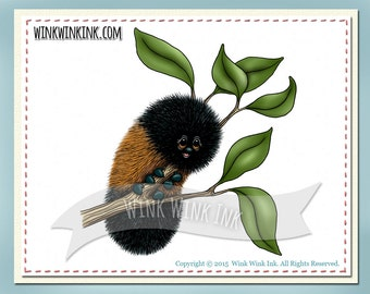 Digital Stamp - Woolly Bear - orange and black caterpillar digi