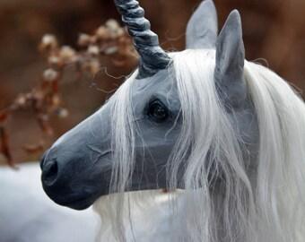 """OOAK Fantasy Equine Unicorn Horse Sculpture """"Bergamot"""" by Quequinox Art"""