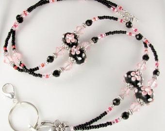 Pink & Black Flower Beaded Lanyard MIDNIGHT BLOOM ID badge holder