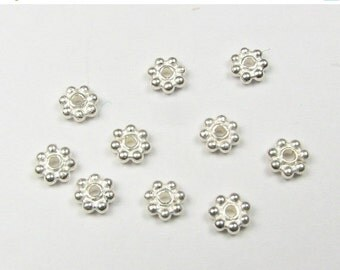 CIJ SALE Bali Sterling Silver Bright Daisy Spacer Beads 3.5mm  (50 pieces)
