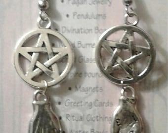 Magickal Hands Pentacle Earrings