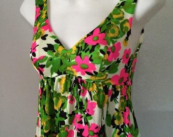 1960's Maxi Dress Mod Floral Extra Small Lime Hot Pink Sleeveless Empire Waist High Side Slit Juniors