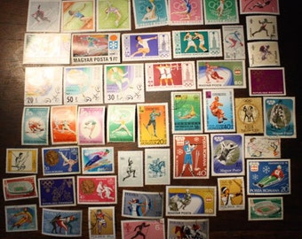World Wide Postage Stamp Lot Olympic Commemorative Stamps Vintage Postage Stamps Philately Collectable Ephemera Gift Olympic Collectable