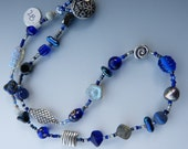 Blue, Grey and Silver Short Beaded Necklace