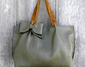 Leather Bow Tote Bag in Sage Green by Stacy Leigh