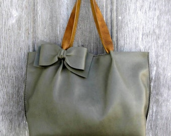 Leather Bow Tote Bag in Sage Green with Distressed Leather Straps by Stacy Leigh