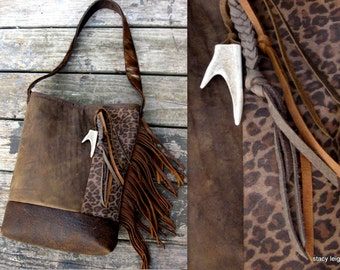 Distressed Leather Fringe Bucket Bag with Leopard Print and Deer Antler by Stacy Leigh