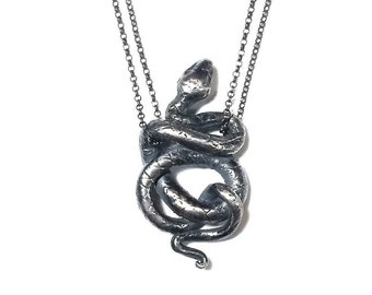 Snake necklace I in sterling silver (coiled serpent)