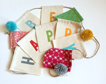 be happy hand painted flags, banner, pennant, garland,  bunting - Fabric scrap be happy prayer flags, party flags, pom pom photo prop flags