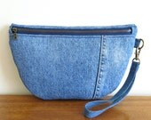 Half Moon Denim Wristlet, Upcycled Denim Purse