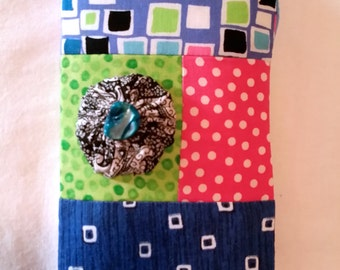Strip Quilt Glasses Case Sunglasses Holder, Yo-Yo Rosette