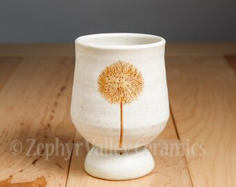 Ceramic Wine Cup - Made to Order - Pottery Wine Cup - Juice Cup - Pottery Glass - Handleless Mug - Antiqued Style - White Cup - Dandelion