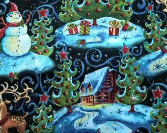 Christmas Snowman Village - fat quarter