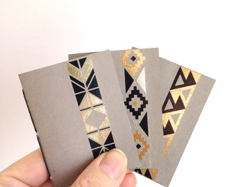Mini Grey Handbound Notebooks with Bold Black & Gold Accents: Set of 3, Tiny Golden Notebook Trio,  Light Grey Blank Books