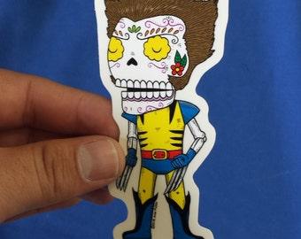 Wolverine  Calavera Clear Die-cut Vinyl Sticker Day of the Dead