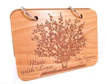 Personalized Recipe Book Cherry Blossom Design - Custom Wooden Recipe Book