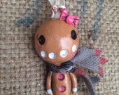 Gingerbread Girl folk art Christmas ornament Ready to ship in pink white and tan with plaid scarf