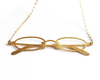 Geek Glases Necklace, Gold Geek Statement Necklace, Long Necklace, Boho Chic Jewelry, Stylish Glasses Necklace