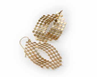Gold Mesh Earrings, Gold Dots Earrings, Oval Shaped Earrings, Modern Architectural Jewelry