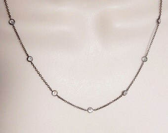 20 inchesOxidized Sterling silver chain necklace with cz links, sterling silver chain with cubic zirconia links