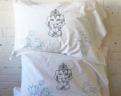 PILLOWCASES with GANESHA and Lotus Flowers in Blue Housewarming Gift Pair of Standard Pillowcases