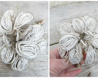 Vintage Antique 1900/1920 French white faceted glass beads & cristal  beaded flower /French beadwork