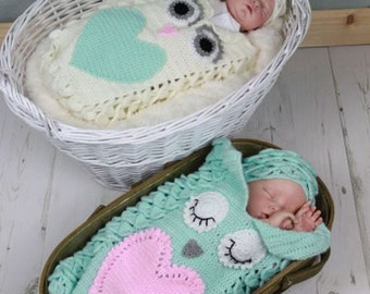 CROCHET PATTERN For Owl Baby Cocoon, Papoose & Hat in 3 Sizes U.K, U.S.A  PDF 341 Digital Download