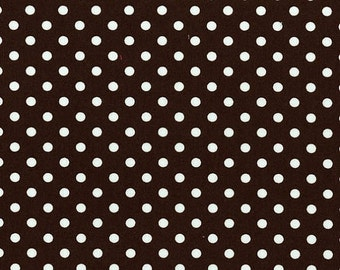 1 YARD - Michael Miller Fabrics, Dumb Dot in White and Brown - SALE