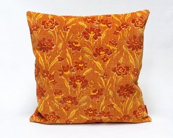 Floral velvet Pillow Cover in red and yellow, 20x20, Handmade with Love from vintage upholstery fabric by EllaOsix