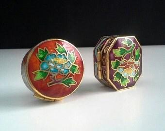 2 Cloisonne Trinket Ring Pill Boxes, Blue Purple Yellow Green Flowers Leaves Keepsake Box
