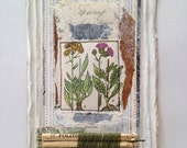 Original Collage - flowers with green thread