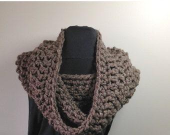 JULY SALE Chunky Crochet Cowl, Neckwarmer, Hood, The Waterport Cowl in Barley